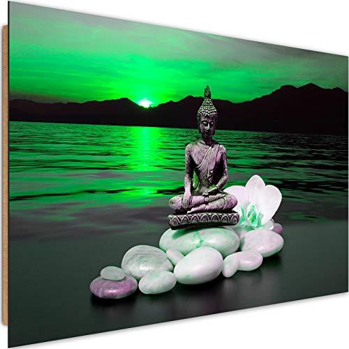 Feeby Wandbild Buddha 120x80 cm Deco Panel 1 Teilig XXL Kunstdruck modern Meer grün