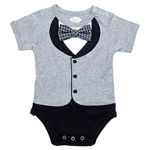 Baby Boys' Tuxedos, 100% Cotton Grey Tux with Grey Pattern Bowtie, 18 Months