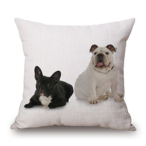 JES&MEDIS Home Decor Pillowcase Cute Dog Theme Series Cotton Linen Square Throw Pillow Cover for Car Club Bed Sofa Cushion Cover 18 by 18 Inches (Two Dogs)