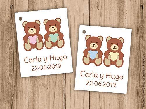Etiqueta para detalle de Bautizo o Baby Shower para gemelos, con ositos. Pack 25 udes. Detalles de Bautizo. Tarjetas personalizadas.