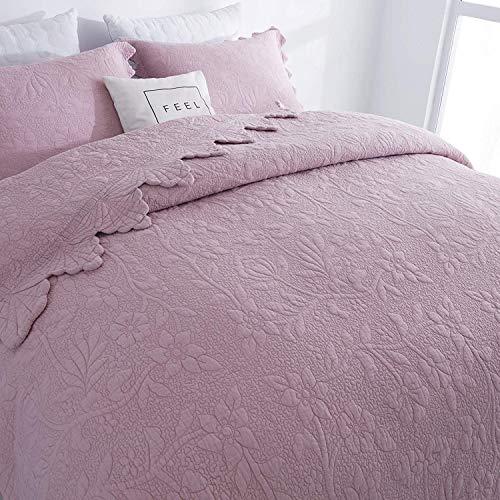 Brandream Queen Size Quilt Set Cotton Dusty Pink Farmhouse Quilted Bedding Sets Luxury Bedspread Vintage Antique Bedroom Set