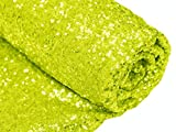 3 Feet 1 Yards-Lime Green-Sequin Fabric-by The Yard, Sequin Fabric, Linens, Tablecloth, Table Runner, Table Overlay, Sequin Backdrop Decoration