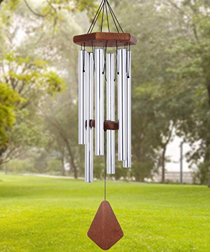 ASTARIN Wind Chimes Outdoor Deep Tone, 30 Inches Memorial Wind Chime Outdoor, Wedding Wind-Chime Personalized with 6 Tuned Tubes, Elegant Chime for Garden, Patio, Balcony and Home, Silver