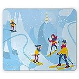 Familia Alfombrilla de ratón Estilo de Dibujos Animados Madre Padre Esquí Snowboard en Las...