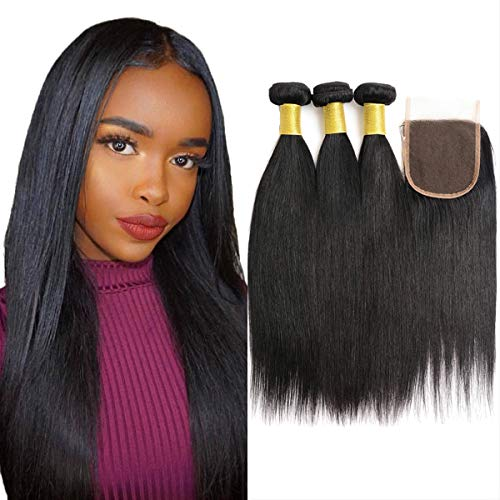Brazilian Virgin Human Hair Straight 3 Bundles Human Hair With Lace Closure Grade 8A 100% Unprocessed Human Hair Bundles With Silk Closure Free Part Natural Black 8 10 12 with 8'