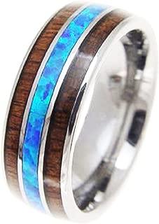 Aloha Jewelry Company Tungsten Carbide Hawaiian Koa Wood with Synthetic Blue Opal Inlay 8mm Comfort Fit Ring/Wedding Band