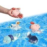 Badewanne Spielzeug Baby, Wasserspielzeug Badewanne, 4PC Badespielzeug Set Schildkröte Wal Krabbe Gans, Uhrwerk Schwimmbad Spielzeug Badewannenspielzeug ab 1 2 3 4 5