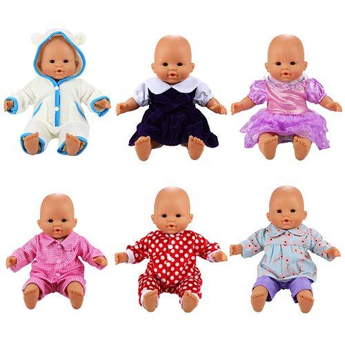 Miunana Poupée Poupon Vêtement 6 Ensembles Tenues Mignonnes Vêtement Colorés à la Main pour La Poupée Corolle ou Poupée Poupon de 36 CM