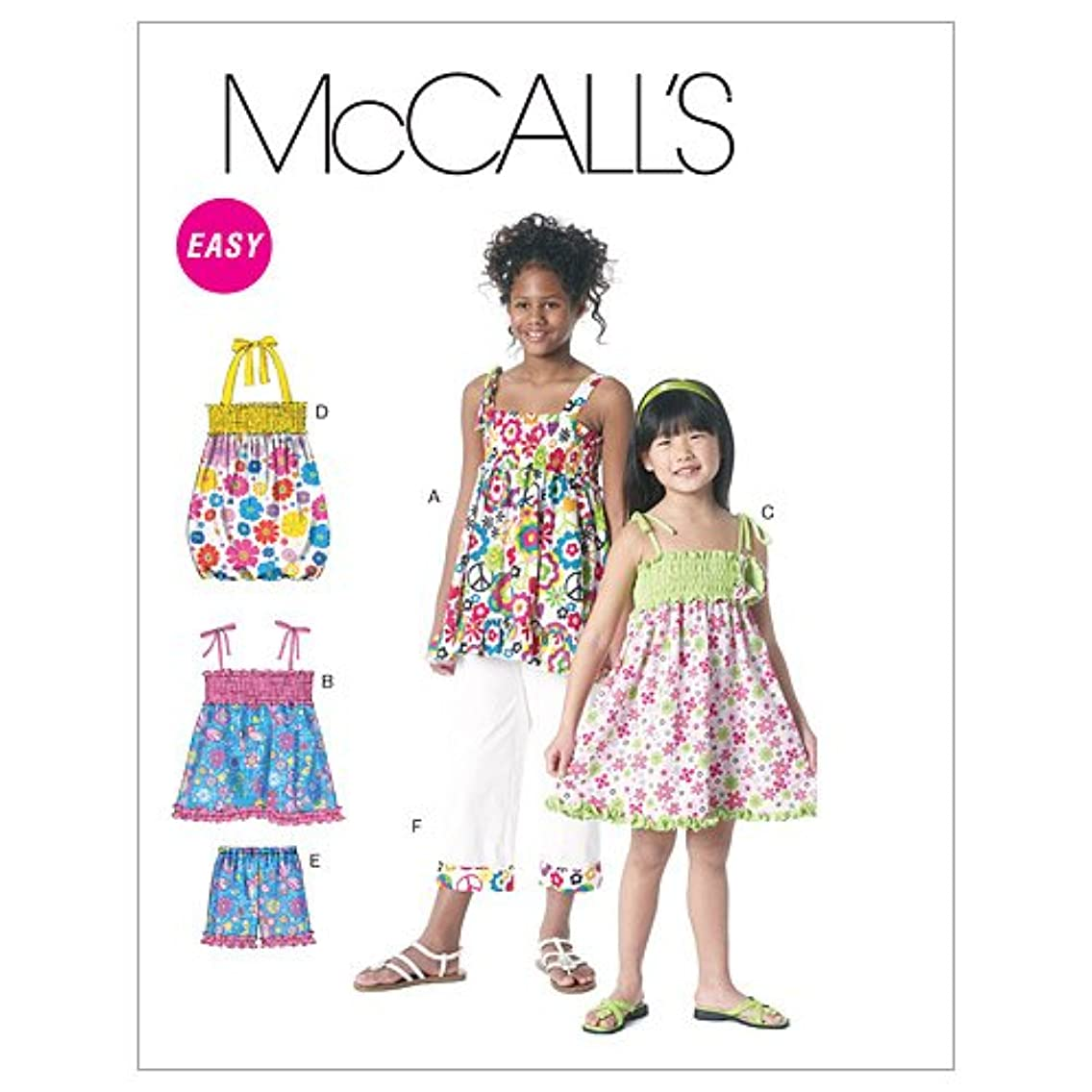 McCall's Patterns M6314 Children's/Girls' Tops, Dresses, Shorts and Capri Pants, Size CX (XSmall-Small)