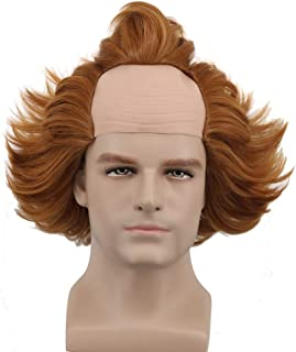 Yuehong Short Brown Mens Wig Fluffy Bald Head Wig Synthetic Halloween Costumes Cosplay Wigs