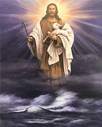 Unframed Print Jesus Walking ON Water with Lamb, (White Religious / 2-810-O) 8x10 Inch T.CHIU, Art Print Poster