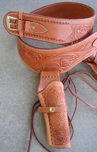 NEW! TAN Single Western Genuine Leather Tooled Single Action...