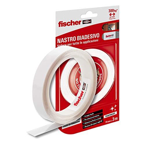 Fischer dubbelzijdig plakband NTJH, dubbelzijdig plakband, transparant, tot 10 kg, waterbestendig, voor binnen en buiten, ideaal voor bevestiging van spiegels, fotolijsten, dekzeilen, dekzeilen