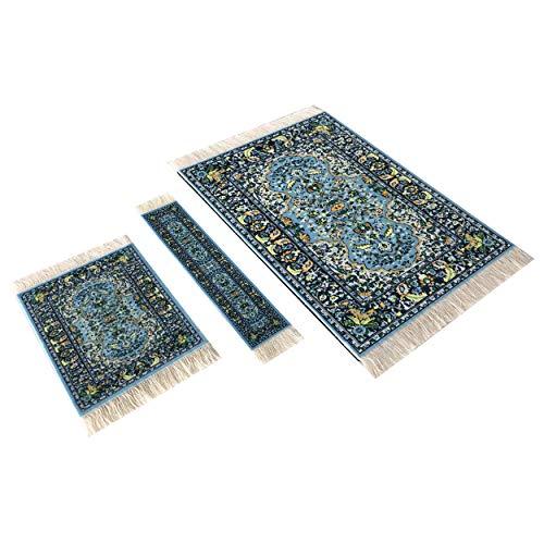 Set Teppich Mauspad Untersetzer und Lesezeichen | Büro Zubehör | Orientalischer Mini Teppich Computer Zubehör (Blau) (Blau)