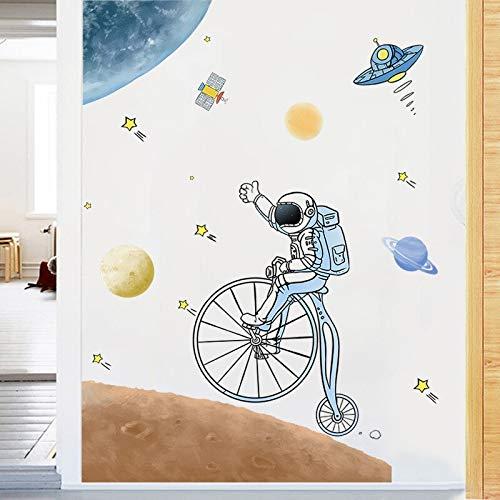 Espacio astronauta niños pegatinas de pared decoración habitación decoración del hogar calcomanías papel tapiz de jardín de infantes vinilo arte Mural cartel
