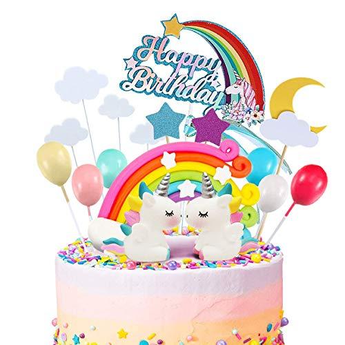 Shalwinn 24 Pezzi Unicorno Cake Topper Kit Decorazione Torta Unicorno Nuvola Arcobaleno Palloncino Buon Compleanno Banner Decorazione Torta per Ragazzo Ragazza Compleanno del Capretto