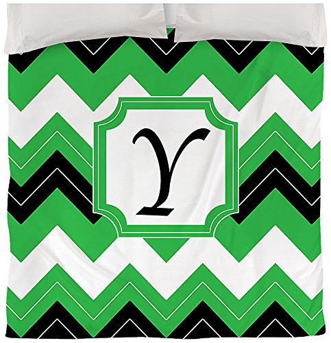 Manual carpinteros y tejedoras funda de edredón, reina/full, letra Y, color negro con el monograma Chevron