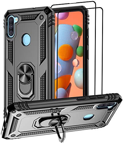 Aliruke Schutzhülle für Samsung Galaxy A11, mit 2 Bildschirmschutzfolien aus gehärtetem Glas, militärische Qualität, Fallprüfung, Handgriffring, Ständer, Schutzhülle für Samsung Galaxy A11 A115, Schwarz