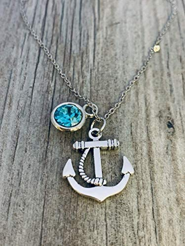 Personalized Anchor Charm Necklace with Birthstone Anchor Pendant Sailor Nautical Jewelry Gift product image