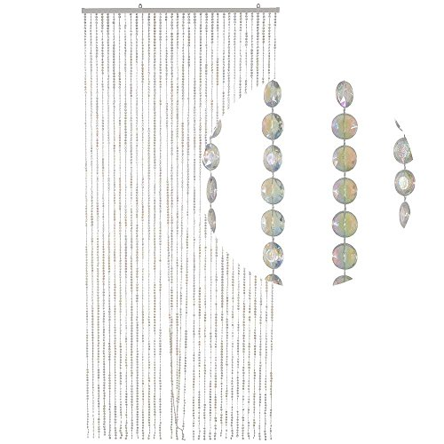 HAB & GUT -DV0315- Türvorhang DIAMANTEN, Klar-Perlmutt, 90 x 200 cm