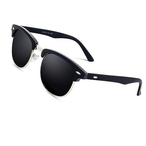 6b8c9ed8af5 CGID MJ56 Premium Inspired Half Frame Polarized Sunglasses with Metal Rivets