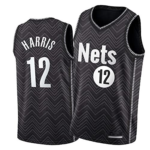 Nèts #12 Jōè Hárris Camiseta de Baloncesto, 2020-2021 Ganado Edición Fans Ropa Negra, Camisa de Entrenamiento de Limpieza Repetible Para Hombre S