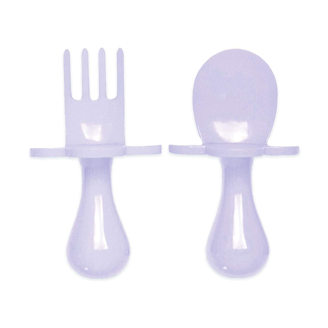 grabease First Training Self Feeding Utensil Set of Spoon and Fork for Toddler and Baby. BPA Free. to-go Pouch (Lavender)