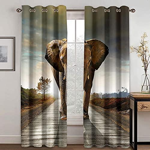 NuAnYI Cortinas Opacas Termicas Elefante Animal 2 Piezas Cortinas Salon Moderno Aislantes Frío Calor Ruido Luz Rayos para Ventana Habitacion Dormitorio Infantil Bebe Niños 298x180CM