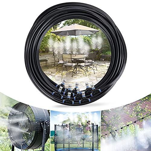 Tencoz Nebulizzatore Giardino, 10M Nebulizzatore da Esterno Sistema Irrigazione Giardino, Kit di Nebulizzatore da Giardino Esterno Terrazzo Adatto per Giardini, Serre e Trampolini, Gazebo(12 Ugello)