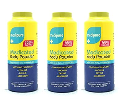 3 x Medipure Medicated Body Powder - Helps Cool Itchy, Irritated Skin 100% TALC FREE (200g) - Swan household ®