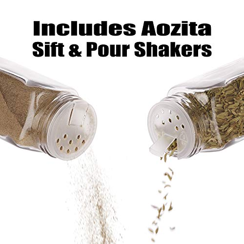 Aozita 24 Pcs Glass Spice Jars/Bottles - 4oz Empty Square Spice Containers with 612 Spice Labels - Shaker Lids and Airtight Metal Caps - Silicone Collapsible Funnel Included