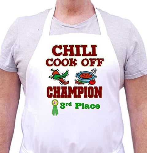 Third Place Chili Cook Off Champion White Bib Aprons