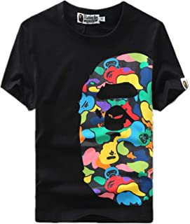 Summer Fashion Bape Pattern Print Cotton Casual T Shirt for Men/Women