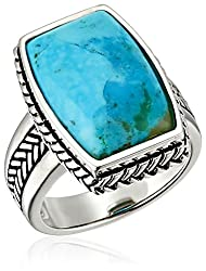 Turquoise and Sterling Silver Roped Ring