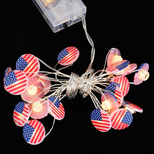 Uonlytech Independence Day String Light Patriotism USA America Flag Fairy Light Cooper Wire LED Night Lamp National Day Party Light for 4th of July Party Decor