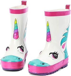 أحذية المطر المطاطية المقاومة للماء للأطفال من أليدر للفتيات والأولاد والأطفال الصغار مع مطبوعات ومقابض مرحة