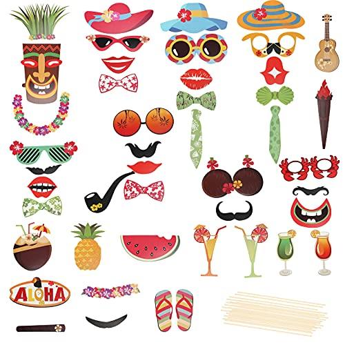 HAMOOM Photocall Cumpleaños Decoracion Carnaval Hawaiana Decoración Mexicana Fiesta Accesorio Fotocal Comunion Bautizo Niños Niñas Divertido Hombre Pascua Bigote Corbata Antorcha DIY Bricolaje.