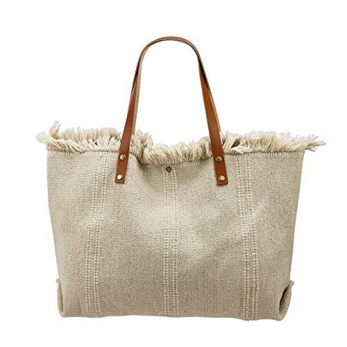 SH Leder ® Damen Dicker-Canvas Shopper Tasche mit Lederriemen in vielen Farben Schultertasche Henkeltasche 50x34cm Sonja G263 (Beige)