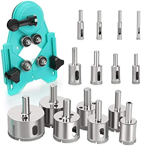 Hole Saw Set 15Pcs Diamond Drill Bits with Hole Saw Guide Jig Fixture Coated Core Drill Bits product image
