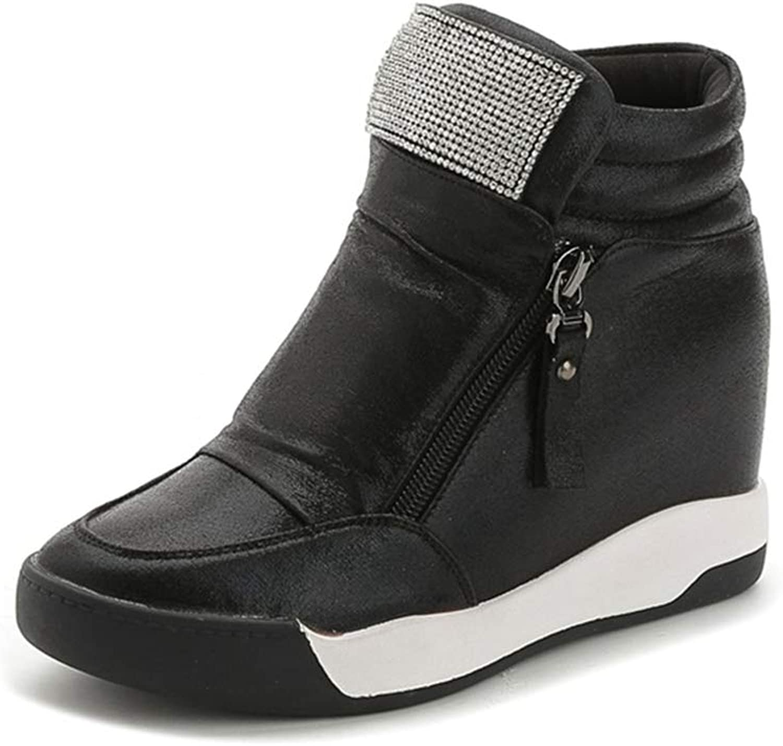 Women's Rhinestone Zipper PU Height Increasing Casual Loafers Platform Wedge Sneaker Female Fashion Walking shoes