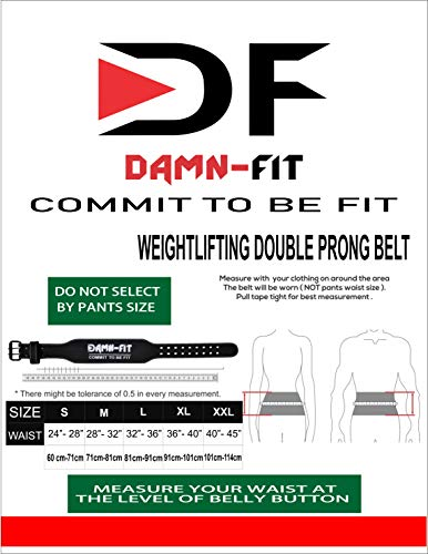 Damn-Fit® Weight Lifting Double Prong - 4-inch Wide Back Support– Original Cowhide Finish Leather, Weight Lifting Belt, Great for Bigender, Bodybuilding, (XX Large, BLACK)