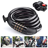 TACKLIFE Cable Bike Lock, HCL1C 4-Feet Resettable Combination Bike Cable Self Coiling Bicycle Cable Locks with Complimentary Mounting Bracket, 4 Feet x 1/2 Inch