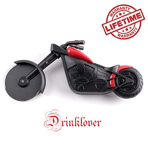 Drinklover Motorcycle Pizza Cutter, Stainless Steel Wheel Blade, Kitchen Gadget Present with Stand