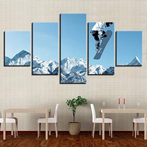 ZXCVWY Decoración Habitación Pared Impresiones Modernas 5 Piezas Patineta Deportiva Nieve Montaña Paisaje Pintura Arte Cartel Lienzo Imágenes