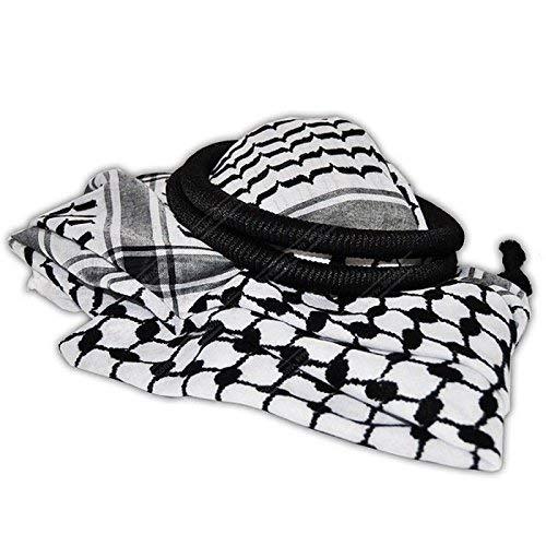 LION OF JUDAH MARKET Black & White Middle Eastern Arab Kafiya Keffiyeh with Aqel Rope