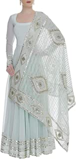 Pinkkart Baby Blue Indian Handmade Collection Ethnic Full Sleeve Lace Work Floor Touch Full Flaired Anarkali Suit Heavy Dupatta Bespoke Gota Patti Work 108okh …
