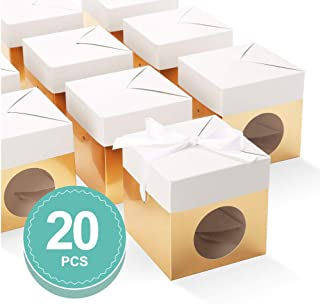 BAKIPACK Truffle Boxes Packaging 4x4x4 inches with Ribbons and Clear Window Chocolate Boxes Candy Boxes Gold 20 Pack