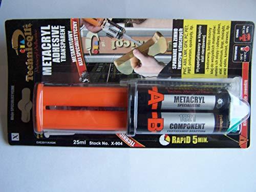 Technicqll - Colla adesiva a base di metacrilato per acciaio inossidabile, plastica, PVC, ABS, PET e materiali composti, elevata resistenza