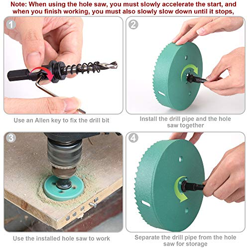 6 Inch Hole Saw, XOOL Hole Saw Set is Made of Heavy Carbon Steel, Used for Cutting Soft Metals, Drywall, Plastic, Wood, Fiberboard Great for Making Cornhole Boards