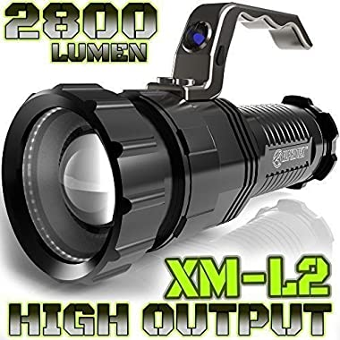 2,800 LUMEN | HIGH OUTPUT | RECHARGEABLE | ZOOMABLE Floodlight to Spotlight | X-Lamp XM-L2 CREE LED (20% Brighter Than T6 LED) TACTICAL FLASHLIGHT | (NO Batt)